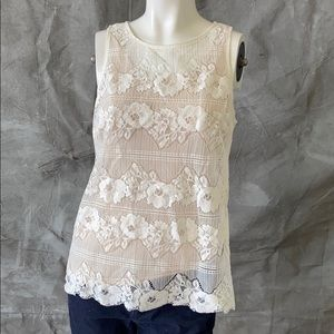 Guess off white lace sleeveless top-medium